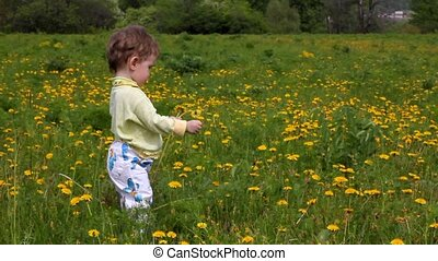 Baby with dandelions