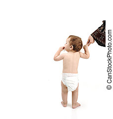 baby with diaper learning to walk with help of his mother, isolated with large copy-space for your message