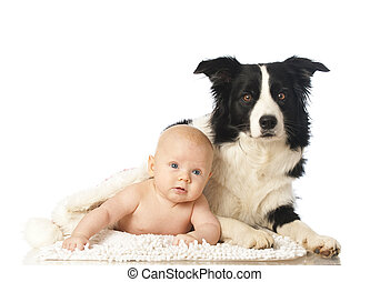 Baby with dog isolated on white