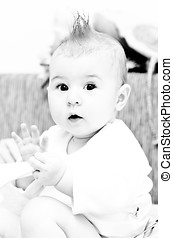 Baby with funny hair - B&W baby girl with Mohawk hairstyle
