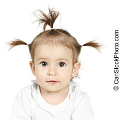 Baby with funny ponytail - Portrait of little girl with ...