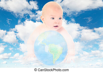 baby with glass globe on White, fluffy clouds in blue sky collage