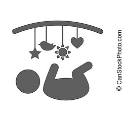 Baby with hanging toys pictogram flat icon isolated on white