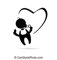 baby with heart icon vector