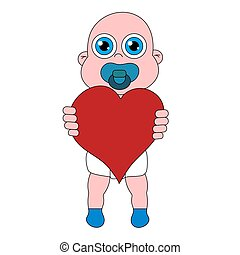 Baby with heart. Stock isolated illustration