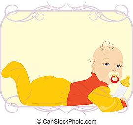 Baby with milk bottle. Child food