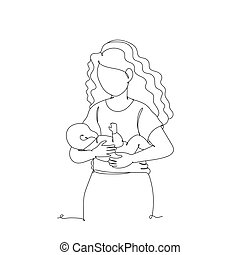 Baby with mom - one line drawing. Vector illustration continuous line drawing. Happy family.