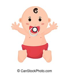 baby with pacifier cartoon isolated