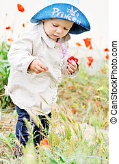 baby with poppies