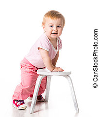 baby with small chair