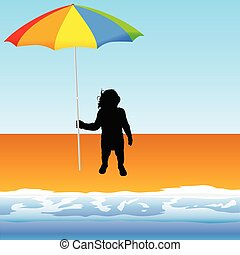 baby with umbrella on the beach vector