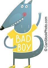 Baby Wolf or Dog Character Greeting wearing tee shirt Bad Boy