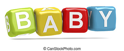 Baby word concept on cube block isolated