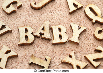 Baby word wooden letters