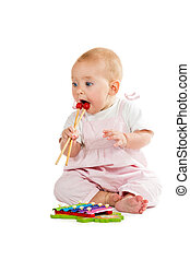 baby, xylophon, spielende