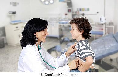 baby, ziekenhuis, brunette, kinderarts