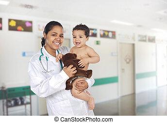baby, ziekenhuis, latijn, kinderarts