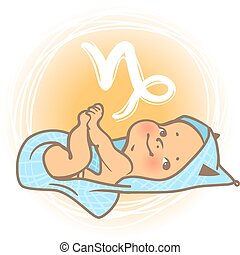 Baby zodiac Capricorn - Children's horoscope icon. Kids...