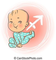 Baby zodiac Sagittarius - Children's horoscope icon. Kids...