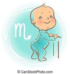 Baby zodiac Scorpio - Children's horoscope icon. Kids...