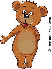 baby, zwaaiende , spotprent, beer, handen