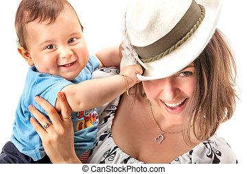 babybeeld, vrolijke , moeder
