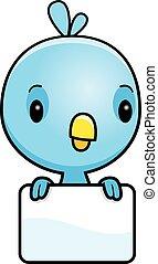 babyblau, vogel, karikatur, zeichen
