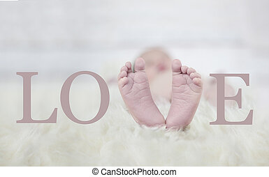 Babyfeet forming the word love