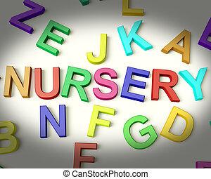 babykamer, geschreven, in, veelkleurig, plastic, geitjes, brieven