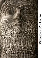 Babylonian statue ancient head - Babylonian statue head