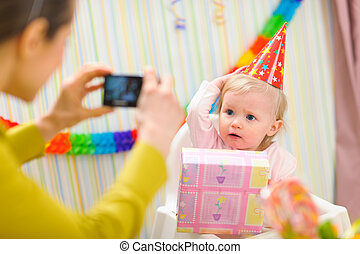 babys, 사진, 생일, 어머니, 제작, 처음