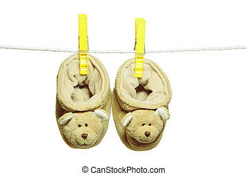 Baby's bootee – bears hanging on the clothesline