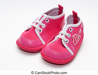 baby's bootee on white background. Pair shoes