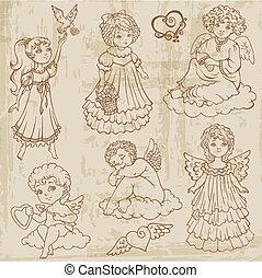 babys, dukker, engle, vinhøst, -, hånd, vektor, stram