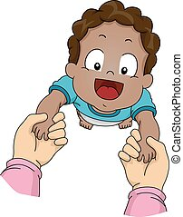 Baby's First Steps - Illustration Featuring an African-...