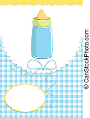 Baby's greetings card with bottle