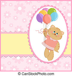 Baby's greetings card with cat and balloons