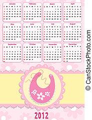 babys, kalender, für, 2012