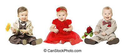 babys, kinder, gut angekleidet, elegant, kinder, mit, blume, mode, junge mädchen, freigestellt, aus, weißes