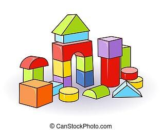 Babys letter cubes toys. Wooden or plastic color cubes. Vector. Castle