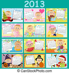 Baby's monthly calendar for year 2013