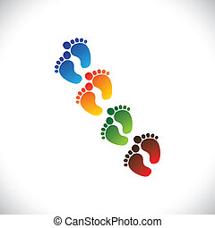 baby's or toddler's colorful foot step pairs for kindergarten - vector graphic. This illustration can represent play school, nursery or pre-school of kids & toddlers or baby care centers, etc