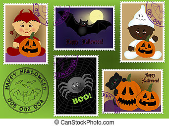 Baby's postage marks and stamps with halloween theme (EPS10)