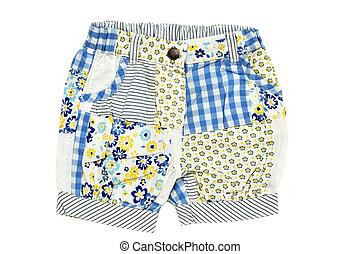 baby's shorts - baby girl's shorts on over the white...
