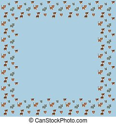 Baby`s square frame of funny cartoon South American noses, okapi, baby rhinos, and their muzzles with white strokes like stickers on a blue background. Vector blank template for graphic design.