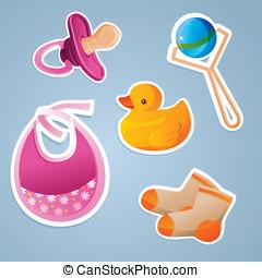 baby's toys icon set