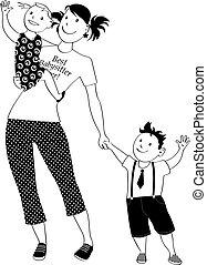Babysitter clip-art - Teenage girl babysitter or nanny...