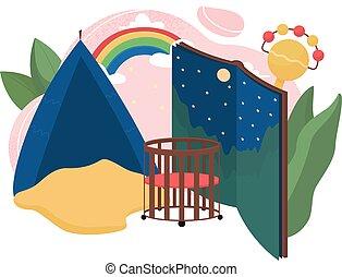 Babysitter flat concept vector illustration