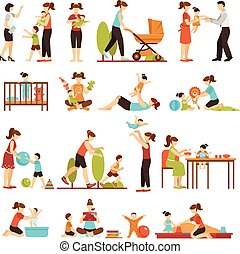 Babysitter Flat Set Of Decorative Colored Icons