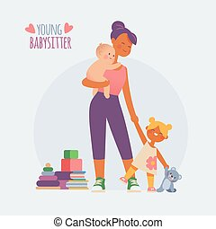 babysitter nanny with baby and girl, cartoon characters...
